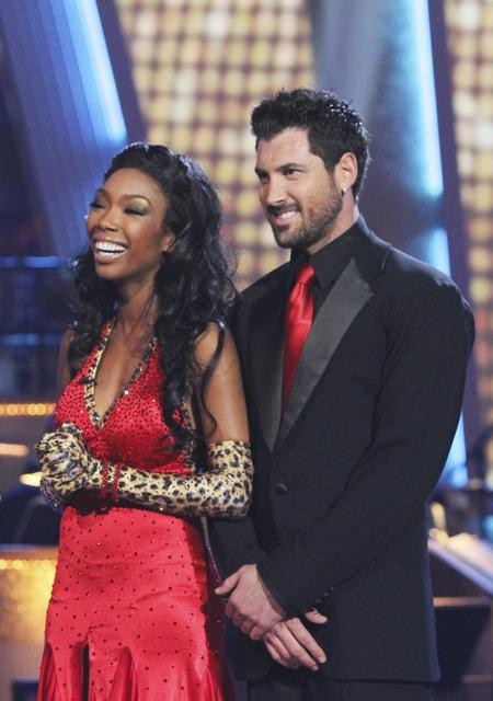 Brandy and Maksim Chmerkovskiy performed a foxtrot on &#39;Dancing With the Stars,&#39; Monday, Nov. 1, 2010. The judges gave the couple 37 out of 40 for individual and 27 points for winning dance marathon for a total 64 out of 70. <span class=meta>(KABC Photo)</span>