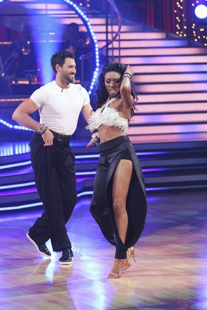 Brandy and Maksim Chmerkovskiy perform on Team Apolo for the cha cha dance off on 'Dancing With the Stars,' Monday, Nov. 1, 2010. The team scored a total of 27 out of 30 for their performance.
