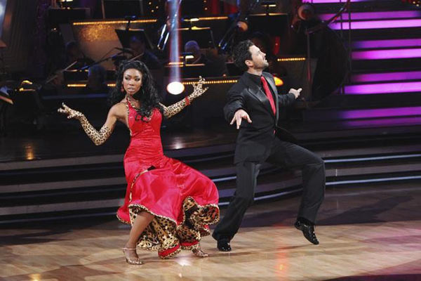 Brandy and Maksim Chmerkovskiy perform a foxtrot on 'Dancing With the Stars,' Monday, Nov. 1, 2010. The judges gave the couple 37 out of 40 for individual and 27 points for winning dance marathon for a total 64 out of 70.