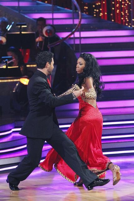 "<div class=""meta ""><span class=""caption-text "">Brandy and Maksim Chmerkovskiy perform a foxtrot on 'Dancing With the Stars,' Monday, Nov. 1, 2010. The judges gave the couple 37 out of 40 for individual and 27 points for winning dance marathon for a total 64 out of 70. (KABC Photo)</span></div>"