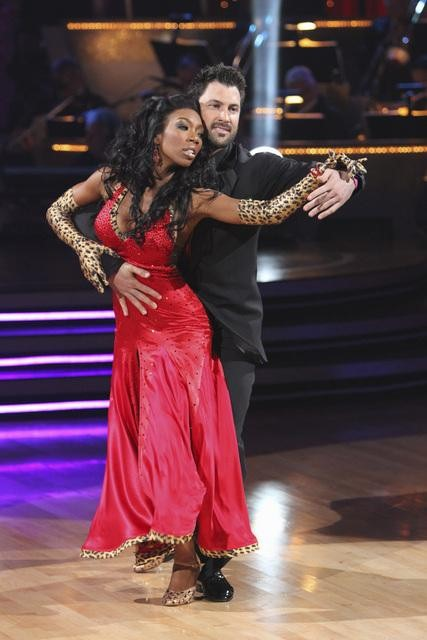 Brandy and Maksim Chmerkovskiy perform a foxtrot on &#39;Dancing With the Stars,&#39; Monday, Nov. 1, 2010. The judges gave the couple 37 out of 40 for individual and 27 points for winning dance marathon for a total 64 out of 70. <span class=meta>(KABC Photo)</span>