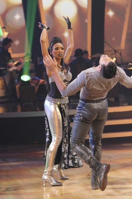 Brandy and Maksim Chmerkovskiy perform on 'Dancing With the Stars,' Monday, Oct. 25, 2010. The judges gave the couple 26 out of 30 for individual and 10 points for winning dance marathon for a total of 36.