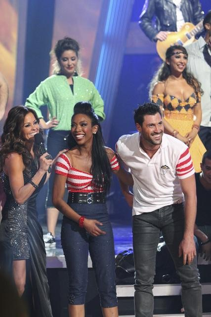 Brandy and Maksim Chmerkovskiy earn 10 points for winning the dance marathon for a total of 36 points with their performance on 'Dancing With the Stars,' Monday, Oct. 25, 2010.