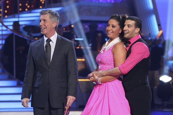 Bristol Palin and Mark Ballas await their score after performing to the 'Monkees' theme on 'Dancing With the Stars,' Monday, Oct. 18, 2010. The judges eventually gave the couple 18 points out of 30. Pictured: Host Tom Bergeron.