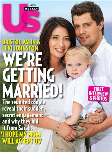 Bristol Palin was engaged to Levi Johnston, 20, in 2008 and gave birth to their son Tripp that December at age 18.  Weeks later, Bristol Palin and Johnson called off their engagement.  They became engaged again in July 2010 and graced the cover of Us Weekly magazine. Bristol Palin broke off the engagement for a second time that same month. <span class=meta>(Photo courtesy of US Weekly)</span>