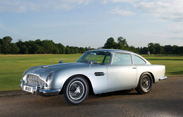 The silver 1964 Aston Martin DB5 car used by James Bond in the 007 films was sold for $4.6 million at London auction in October 2010.