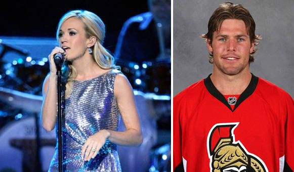 "<div class=""meta ""><span class=""caption-text "">Country star and 'American Idol' alum Carrie Underwood and hockey player Mike Fisher were married on July 10, 2010.  The two had met at one of her concerts in Ottawa. Fisher proposed to Underwood in December 2009 after dating for more than a year. (Photo courtesy of carrieunderwoodofficial.com / nhl.com)</span></div>"