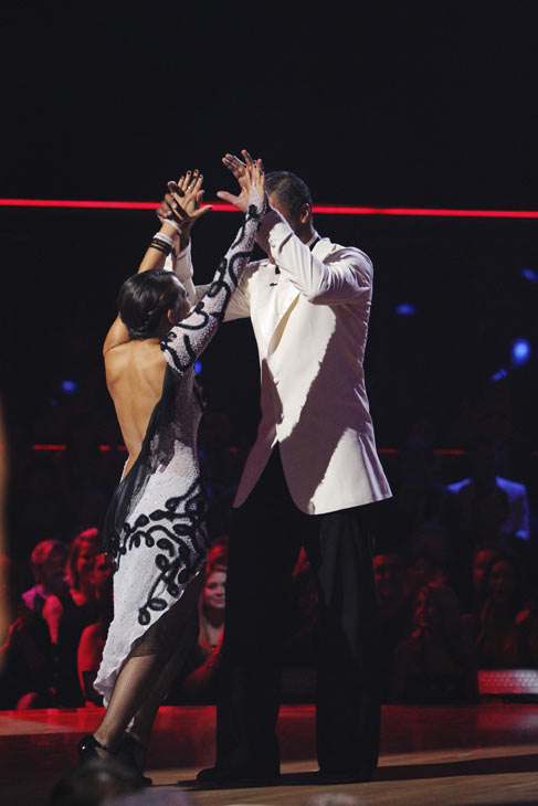 Rick Fox and Cheryl Burke react to being safe on &#39;Dancing With the Stars: The Results Show,&#39; Tuesday, Oct. 12, 2010. The judges gave the couple 39 points out of 60. <span class=meta>(KABC Photo)</span>