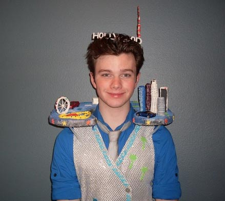 "<div class=""meta ""><span class=""caption-text "">Chris Colfer from 'Glee' dressed up like the city of Los Angeles for Halloween 2010. (twitter.com/chriscolfer)</span></div>"