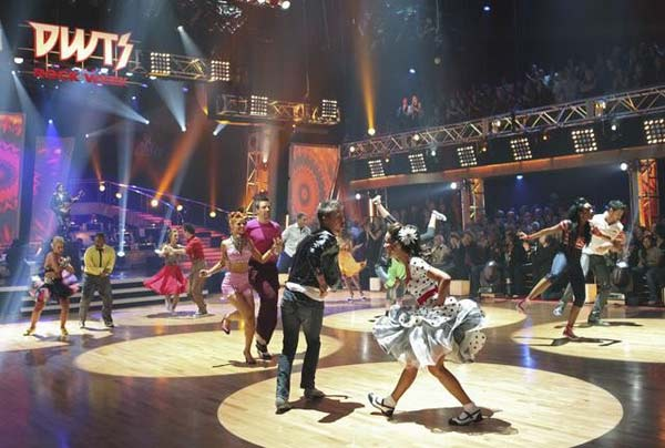 "<div class=""meta ""><span class=""caption-text "">Stars and their professional partners perform for the dance marathon on 'Dancing With the Stars,' Monday, Oct. 25, 2010. (ABC Photo/Adam Larkey)</span></div>"