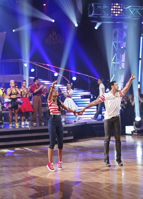 "<div class=""meta ""><span class=""caption-text "">Brandy and Maksim Chmerkovskiy earn 10 points for winning the dance marathon for a total of 36 points with their performance on 'Dancing With the Stars,' Monday, Oct. 25, 2010. (ABC Photo/Adam Larkey)</span></div>"