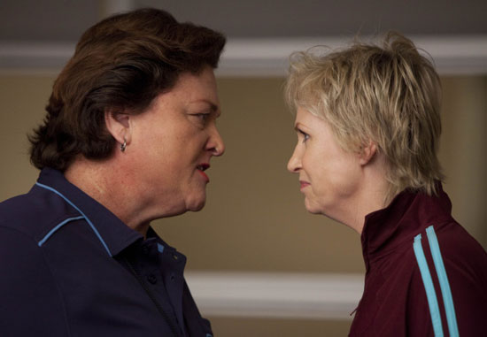 Dot-Marie Jones, who plays Coach Sharon Beiste on Glee told OnTheRedCarpet.com that nothing scares her. However, she did say, &#39;I love a good scary movie, and if they can scare me that&#39;s amazing!&#39; &#40;Pictured: Dot-Marie Jones and Jane Lynch in a scene from &#39;Glee&#39;.&#41; <span class=meta>(FOX)</span>