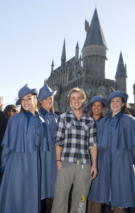 Tom Felton, who portrays Draco Malfoy in the &#39;Harry Potter&#39; film series, visited with the Beauxbatons at The Wizarding World of Harry Potter during his recent visit to Universal Orlando Resort on Dec. 28, 2010. After enjoying Butterbeer with his friends and visiting Hogwarts castle, Felton spent the rest of his Universal Orlando vacation enjoying the rides and attractions at both theme parks. <span class=meta>(Kevin Kolczynski &#47; Universal Orlando Resort)</span>