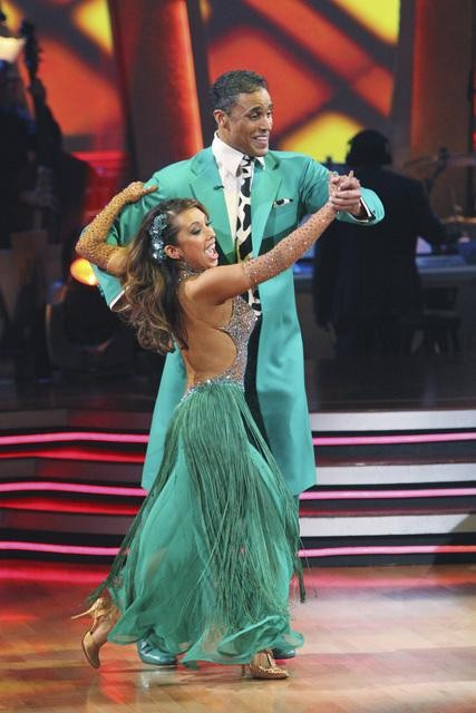Rick Fox and Cheryl Burke perform a Quickstep on 'Dancing With the Stars,' Monday, Nov. 1, 2010. The judges gave the couple 37 out of 40 for individual and 24 points for winning dance marathon for a total 61 out of 70.