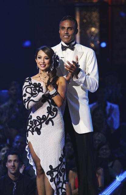"<div class=""meta ""><span class=""caption-text "">Rick Fox and Cheryl Burke wait to hear their fate on 'Dancing With the Stars: The Results Show,' Tuesday, Oct. 12, 2010. The judges gave the couple 39 points out of 60. (ABC Photo/ Adam Larkey)</span></div>"