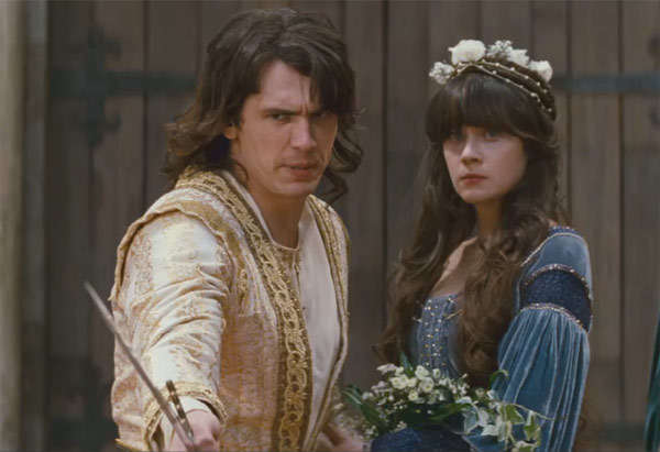 "<div class=""meta ""><span class=""caption-text "">James Franco as Prince Fabious and Zooey Deschanel as Belladonna in the 2011 fantasy comedy movie, 'Your Highness.' (Universal Pictures)</span></div>"