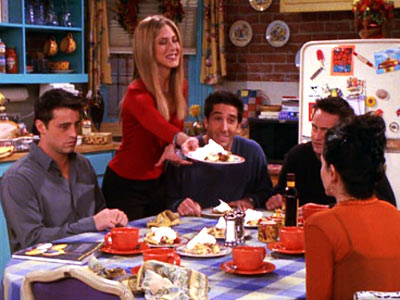 &#39;Friends&#39; - &#39;The One Where Ross Got High&#39;: Another &#39;Friends&#39; episode makes the list, as Chandler becomes nervous upon Monica&#39;s parents arrival for Thanksgiving.  As dinner continues, everyone fights and secrets are revealed. <span class=meta>(Photo courtesy of Warner Bros. Television)</span>