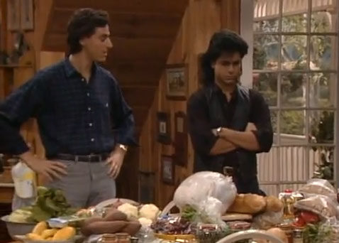 "<div class=""meta ""><span class=""caption-text "">'Full House'- 'The Miracle of Thanksgiving':  In this early episode, surrogate dads Jesse and Joey join the Tanner family in their first Thanksgiving without their mother.  Thanksgiving dinner is made by DJ, featuring a frozen turkey and a destroyed pumpkin pie. (Photo courtesy of Jeff Franklin Productions)</span></div>"