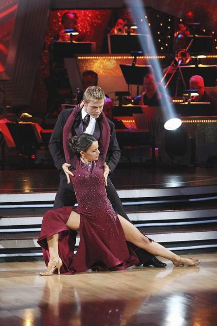 "<div class=""meta ""><span class=""caption-text "">Jennifer Grey and Derek Hough perform a tango on 'Dancing With the Stars,' Monday, Nov. 1, 2010. The judges gave the couple 37 out of 40 for individual for a total 64 out of 70. (ABC)</span></div>"