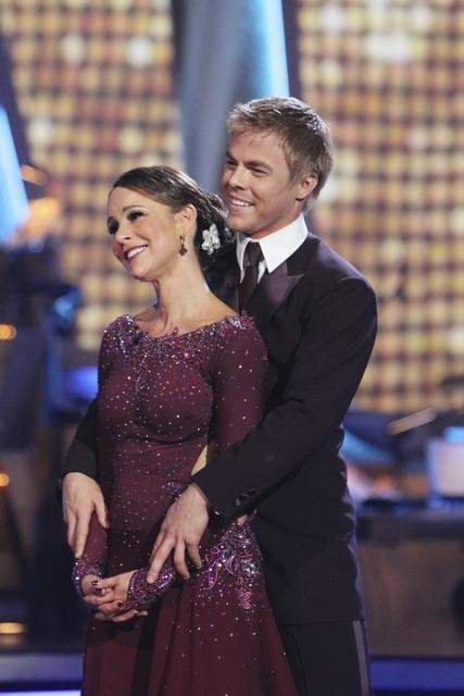 Jennifer Grey and Derek Hough perform on Team Apolo for the cha cha dance off on 'Dancing With the Stars,' Monday, Nov. 1, 2010. The team scored a total of 27 out of 30 for their performance.