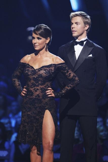 Jennifer Grey and Derek Hough wait to hear their fate on &#39;Dancing With the Stars: The Results Show,&#39; Tuesday, Oct. 12, 2010. The judges gave the couple 56 points out of 60. <span class=meta>(ABC Photo&#47; Adam Larkey)</span>