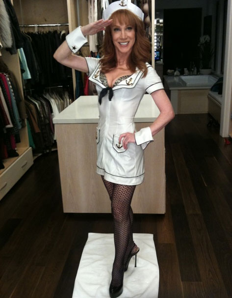 Kathy Griffin dressed up like a sexy sailor....