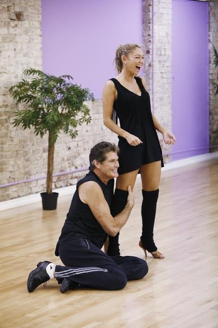 "<div class=""meta ""><span class=""caption-text "">David Hasselhoff of 'Baywatch' fame teams up with Season 9 champion Kym Johnson. (ABC/Greg Zabilski)</span></div>"