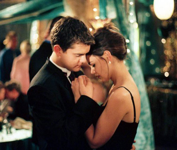 Katie told 'Rolling Stone' that her first love was Dawson's Creek co-star, Joshua Jackson. Pictured: Joshua Jackson and Katie Holmes in a scene from 'Dawsons Creek.'
