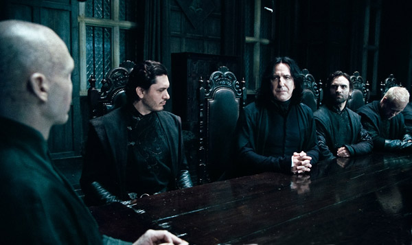 Lord Voldemort (Ralph Fiennes), Severus Snape (Alan Rickman) and Death Eaters appear in a scene from 'Harry Potter and the Deathly Hallows - Part 1.'