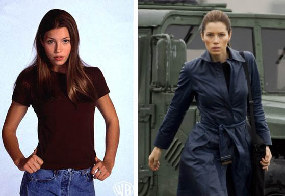 Jessica Biel appears in a promotional photo for '7th Heaven.' / Jessica Biel appears in a scene from the 2010 movie 'The A-Team.'