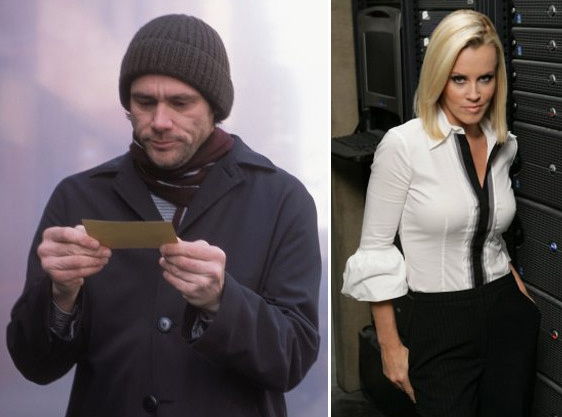 Actors Jim Carrey and Jenny McCarthy broke up after five years, they said on their social networking Twitter pages on April 6, 2010.  The reason for the breakup was not given. McCarthy and Carrey went public with their relationship in 2006 but never wed. Carrey&#39;s 22-year-old rock star daughter from a previous marriage gave birth to his grandson earlier this year. Pictured: Jim Carrey in a scene from &#39;Eternal Sunshine of the Spotless Mind&#39; and Jenny McCarthy in &#39;Chuck.&#39; <span class=meta>(Photos courtesy of Focus Features and Warner Bros. Television)</span>