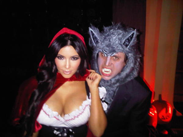 Kim Kardashian dressed up like Little Red Riding Hood for Halloween 2010. Her friend Jonathan Cheban is the Big Bad Wolf. <span class=meta>(twitter.com&#47;kimkardashian)</span>