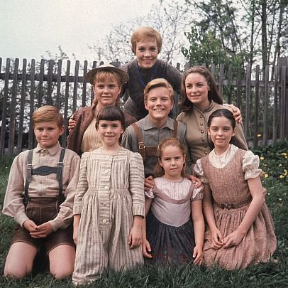 Pictured from top, from left: Julie Andrews (Maria), Heather Menzies-Urich (Louisa), Nicholas Hammond (Friedrich), Charmian Carr (Liesl), Duane Chase (Kurt), Debbie Turner (Marta), Kym Karath (Gretl) and Angela Cartwright (Brigitta