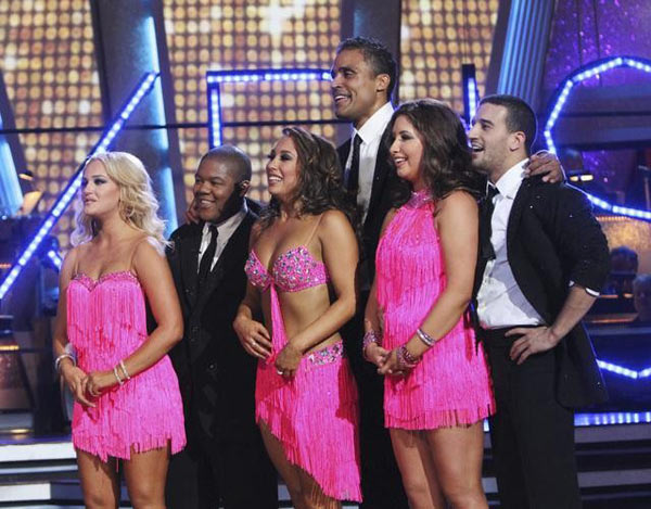 Rick Fox, Kyle Massey, and Bristol Palin perform on Team Kristi for the cha cha dance off on 'Dancing With the Stars,' Monday, Nov. 1, 2010. The team scored a total of 24 out of 30 for their performance.