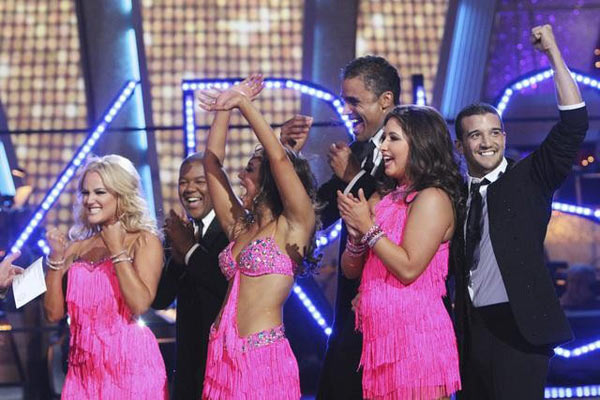 Rick Fox, Kyle Massey, and Mark Ballas perform on Team Kristi for the cha cha dance off on 'Dancing With the Stars,' Monday, Nov. 1, 2010. The team scored a total of 24 out of 30 for their performance.