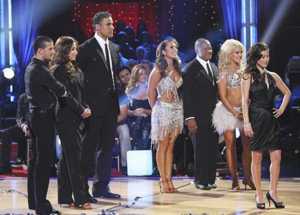 Rick Fox, Kyle Massey, and Mark Ballas perform on Team Kristi for the cha cha dance off on 'Dancing With the Stars,' Monday, Nov. 1, 2010. Former season six champ Kristi Yamaguchi appeared for the dance off.