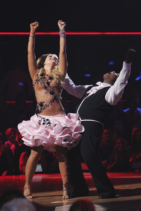 "<div class=""meta ""><span class=""caption-text ""> Kyle Massey and Lacey Schwimmer react to being safe on 'Dancing With the Stars: The Results Show,' Tuesday, Oct. 12, 2010. The judges gave the couple 40 points out of 60. (KABC Photo)</span></div>"