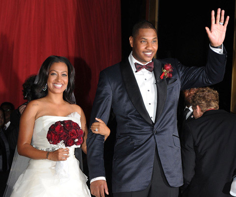 "<div class=""meta image-caption""><div class=""origin-logo origin-image ""><span></span></div><span class=""caption-text"">Denver Nugget, Carmelo Anthony and MTV host Lala Vazquez were married on July 10, 2010.  The pair had been engaged for eight years and have a three year-old son named Kiyan together.  Their nuptials were featured on the VH1 reality show, 'La La's Full Court Wedding.'  (Photo courtesy of VH1)</span></div>"