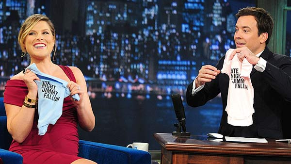 Ali Larter and actor husband Hayes MacArthur welcomed a son named Theodore on Dec. 2010. They had announced in July that they are expecting their first child. (Pictured: Ali Larter on 'Late Night With Jimmy Fallon' in September 2010.)