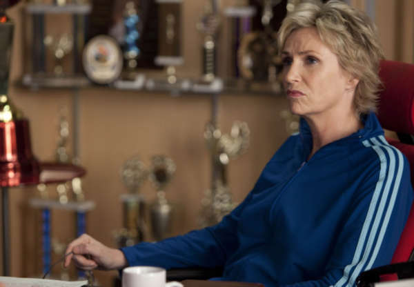 Sue &#40;Jane Lynch&#41; is up to no good in the &#39;Grilled Cheesus&#39; episode of &#39;Glee&#39; airing Tuesday, Oct. 5 &#40;8:00-9:00 PM ET&#47;PT&#41; on FOX. &copy;2010 Fox Broadcasting Co. <span class=meta>(Photo courtesy of Adam Rose &#47; FOX)</span>