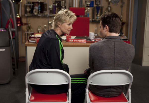 Sue &#40;Jane Lynch, L&#41; corners Kurt &#40;Chris Colfer, R&#41; in the &#39;Grilled Cheesus&#39; episode of &#39;Glee&#39; airing Tuesday, Oct. 5 &#40;8:00-9:00 PM ET&#47;PT&#41; on FOX. &copy;2010 Fox Broadcasting Co. <span class=meta>(Photo courtesy of Adam Rose &#47; FOX)</span>
