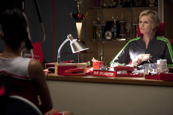 Sue &#40;Jane Lynch, R&#41; and Santana &#40;Naya Rivera, L&#41; chat in &#39;Audition&#39;, the season premiere episode of &#39;Glee&#39; airing Tuesday, Sept. 21 &#40;8:00-9:00 PM ET&#47;PT&#41; on FOX. Also pictured: &copy;2010 Fox Broadcasting Co. <span class=meta>(Photo courtesy of Adam Rose &#47; FOX)</span>