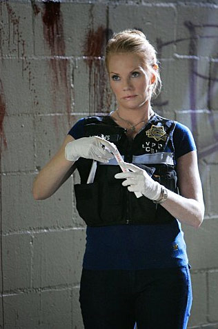(Pictured: Marg Helgenberger in a scene from 'CSI: Crime Scene Investigation.')