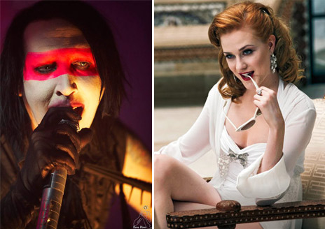 Marilyn Manson and actress Evan Rachel Wood became engaged in January 2010, when he proposed to her during a stage performance in Paris.  However, the couple called it quits in August 2010.  Manson was previously married to Dita Von Teese between 2005 and 2007. Pictured: Marilyn Manson in concert and Evan Rachel Wood in a scene from &#39;True Blood.&#39;  <span class=meta>(Photo courtesy of flickr.com&#47;photos&#47;denaflows and HBO)</span>