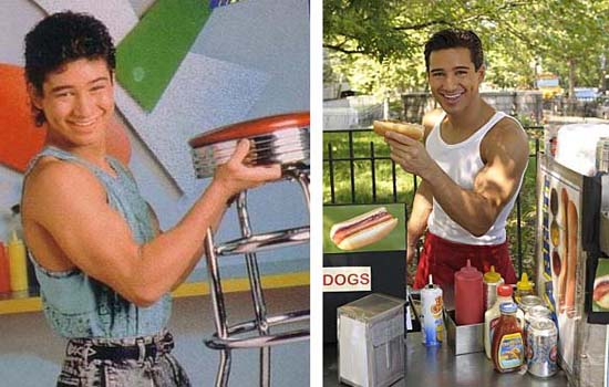 Mario Lopez in a promotional still as A.C. Slater on 'Saved by the Bell.'/Mario Lopez in a scene from 'I Get That a Lot.'