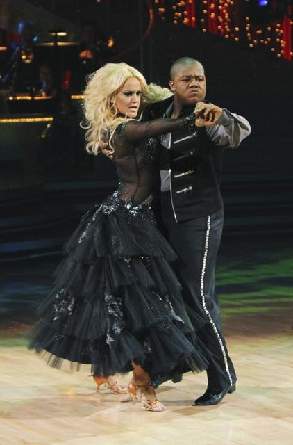 Kyle Massey and Lacey Schwimmer perform a Paso Doble on &#39;Dancing With the Stars,&#39; Monday, Nov. 1, 2010. The judges gave the couple 35 out of 40 for individual and 24 points for winning dance marathon for a total 59 out of 70. <span class=meta>(KABC Photo)</span>