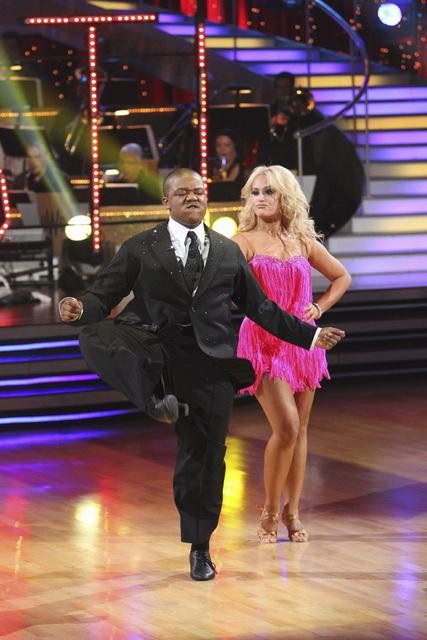 Kyle Massey and Lacey Schwimmer perform on Team Apolo for the cha cha dance off on &#39;Dancing With the Stars,&#39; Monday, Nov. 1, 2010. The team scored a total of 24 out of 30 for their performance. <span class=meta>(ABC)</span>