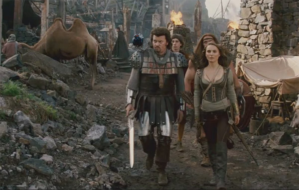 Natalie Portman as the warrior Isabel and Danny McBride as Prince Thadeous in the 2011 fantasy comedy movie, 'Your Highness.'