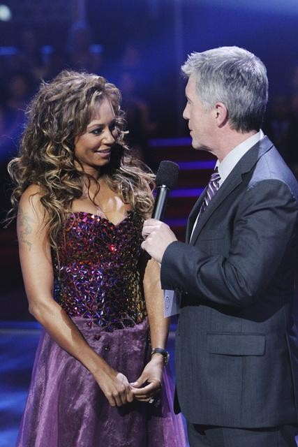 Former contestant Mel B of the Spice Girls and show co-host Tom Bergeron appear on &#39;Dancing With the Stars,&#39; Monday, Nov. 1, 2010. <span class=meta>(ABC)</span>