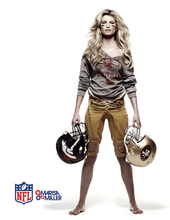 Marisa Miller appears in a print ad for the NFL.